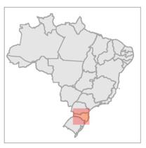 Location of Caçador Model Forest in Brazil