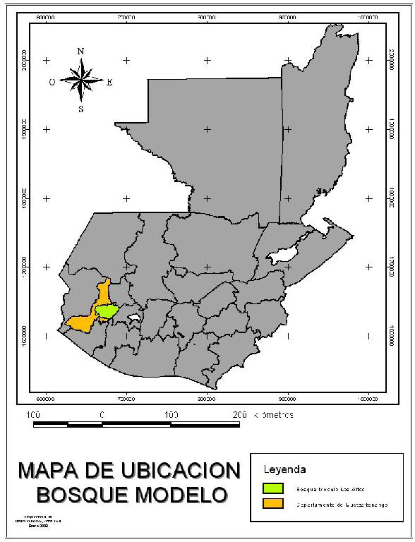 Location of Los Altos Model Forest on the map of Guatemala