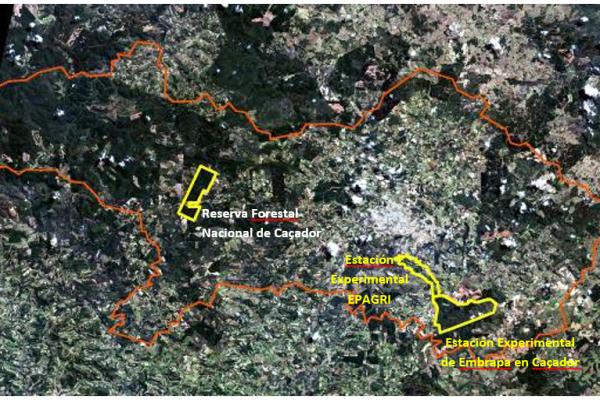 Location of the Caçador Model Forest nuclei