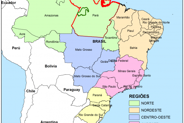 A general view of Brazil, with the State of Pará marked in red and the Amazonas Tapajós Model Forest limits in green.