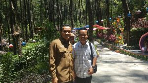 Mr. Asep DM (left), Head of Lawu Forest District, and Mr. Hariyanto (right), teacher and Head of a local community, monitor the park regularly.